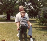 Granddaddy Russell with my cousin Chris at the farm - 1982